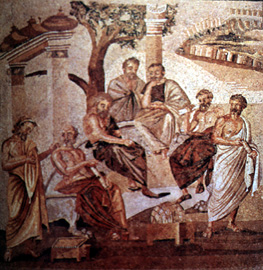 [Pompeii mosaic - the Philosophers' meeting]